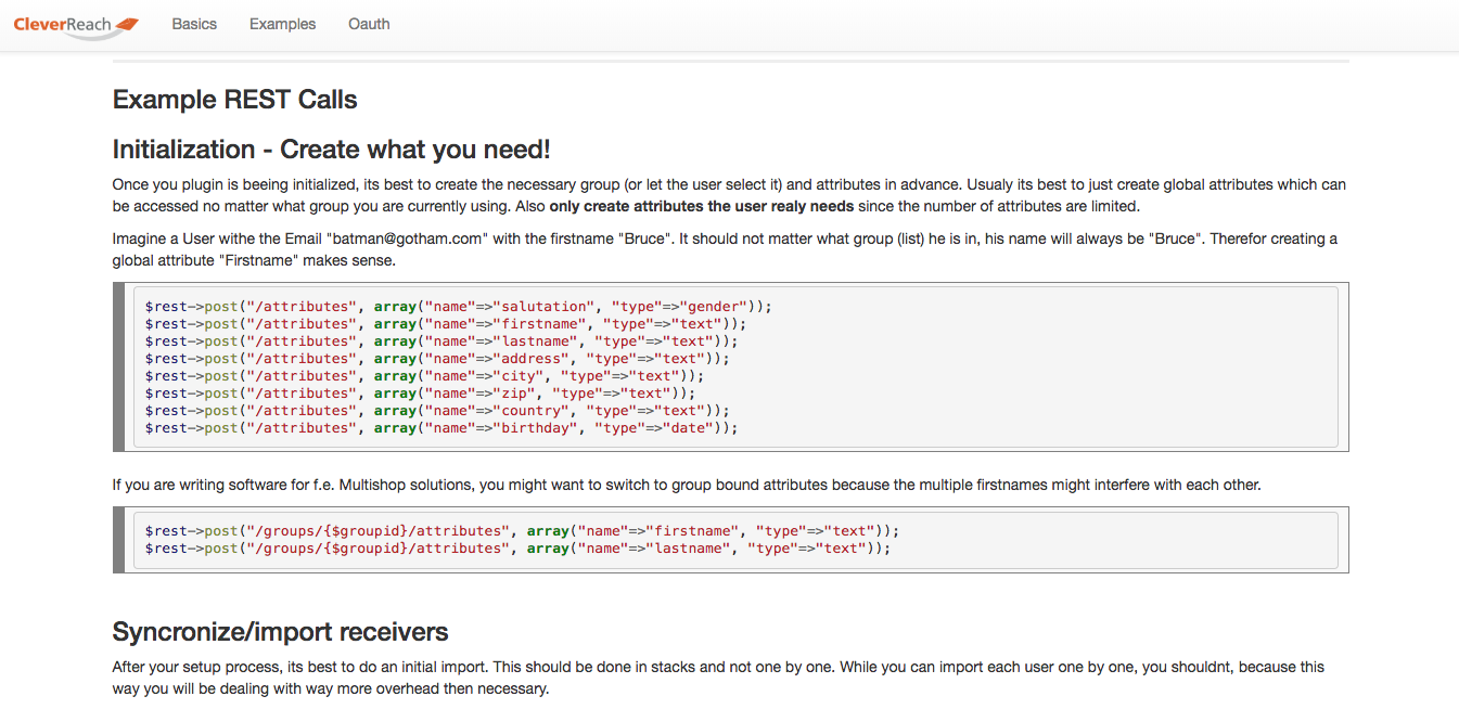 screenshot: REST API v3 (Beta) von CleverReach®