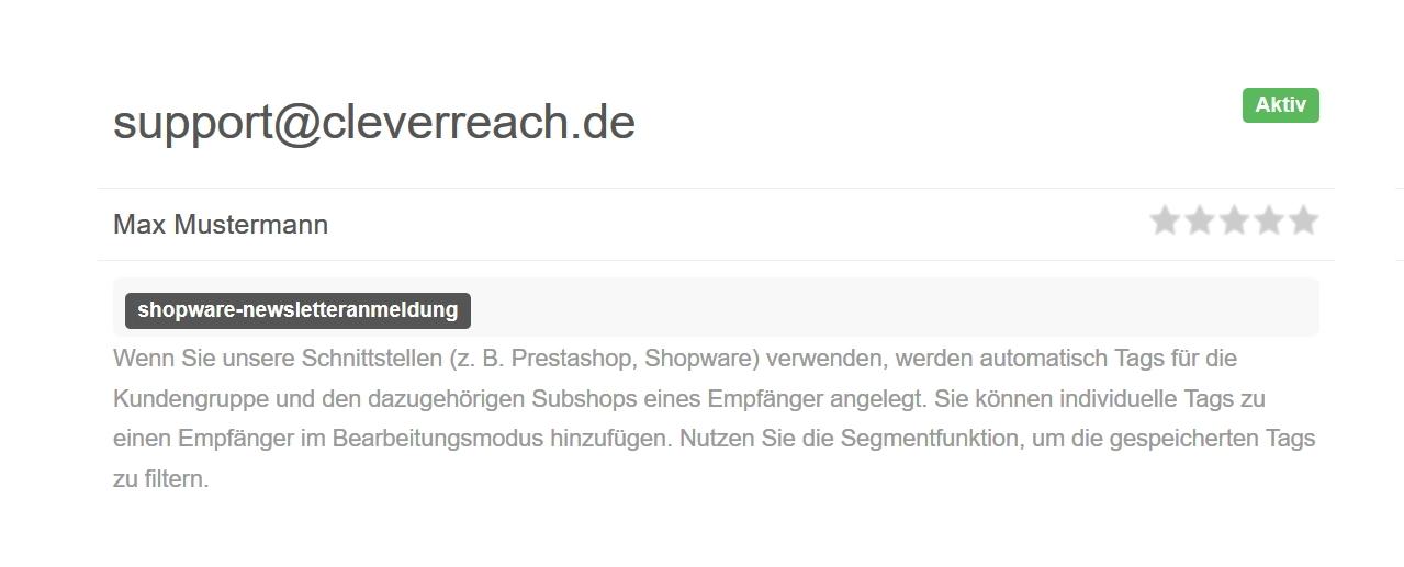 screenshot: 2. Schritt: Tagging