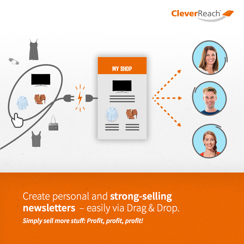 screenshot: connect epages and cleverreach® - create strong-selling newsletters - easily via drag and drop