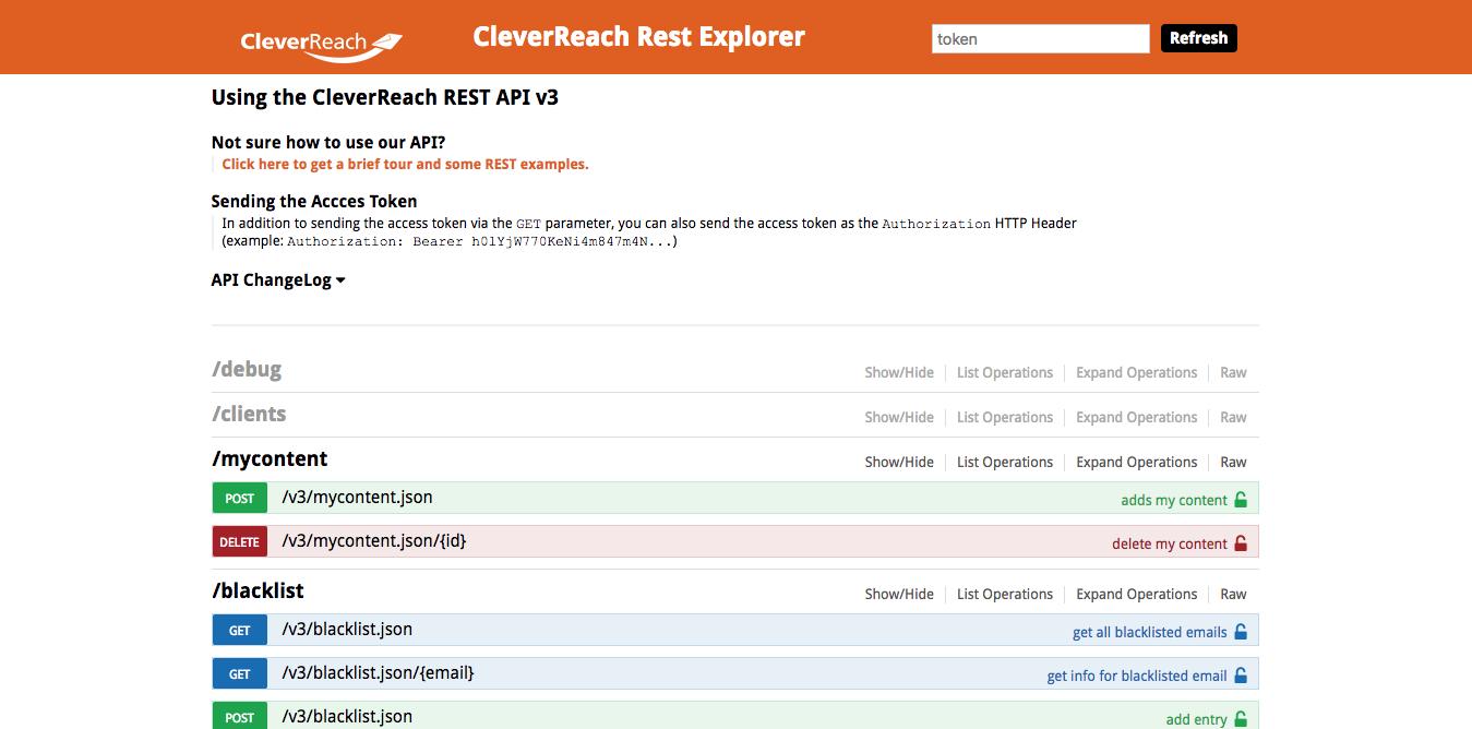 screenshot: REST API v3 (Beta) made by CleverReach®