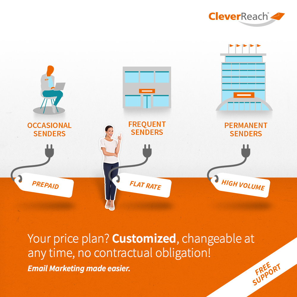 connect typo3 and cleverreach® - your price plan customized, changeable at anytime, no contract commitment