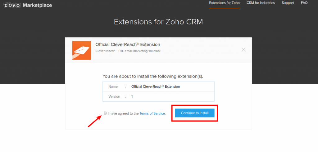 CleverReach® Zoho Continue to Install