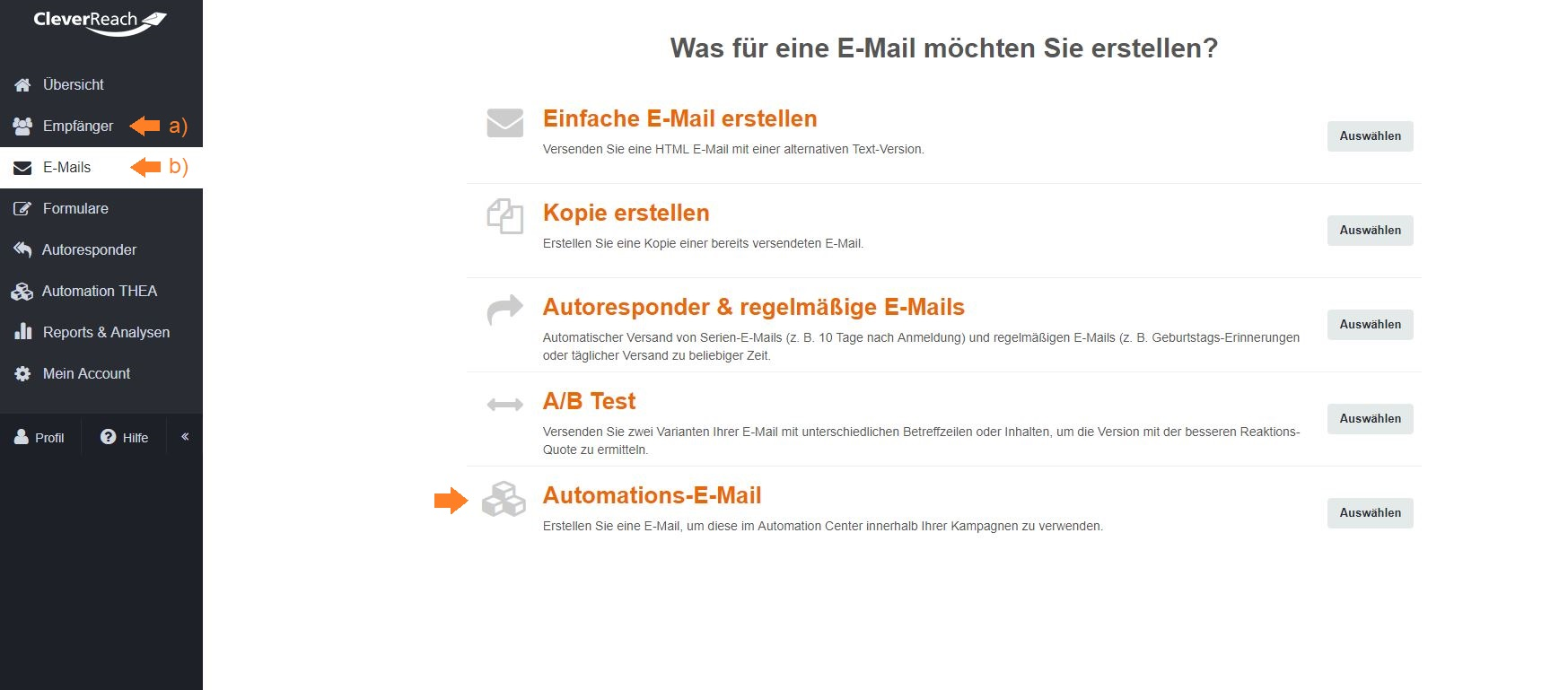 cleverreach_screenshot_autoresponder_follow-ups_thea_automation_e-mail_erstellen