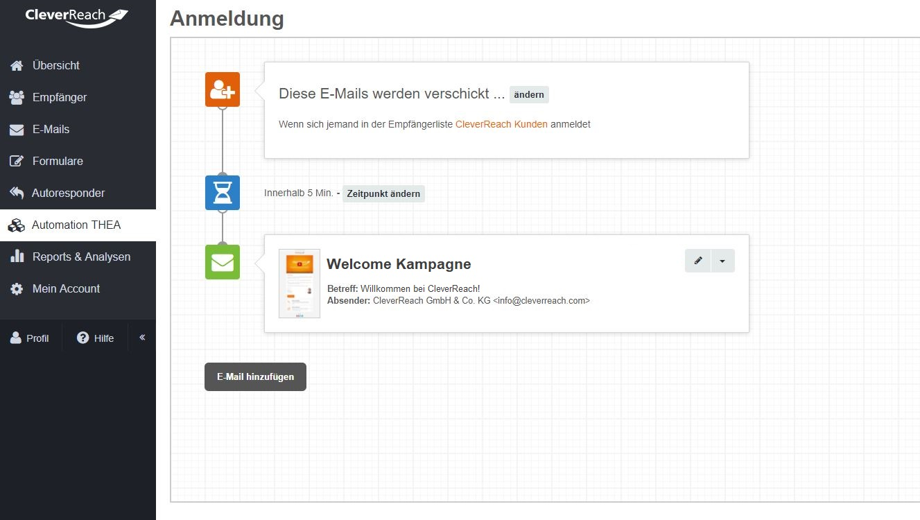 cleverreach_screenshot_autoresponder_follow-ups_thea_automation_neuanmeldung