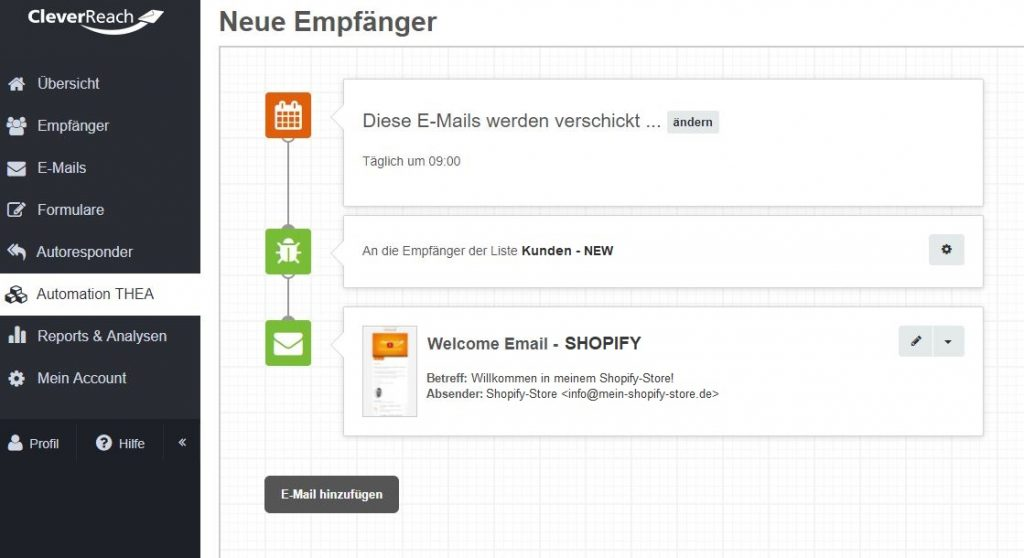 screenshot_cleverreach_thea_automation_welcome_email_schnittstelle