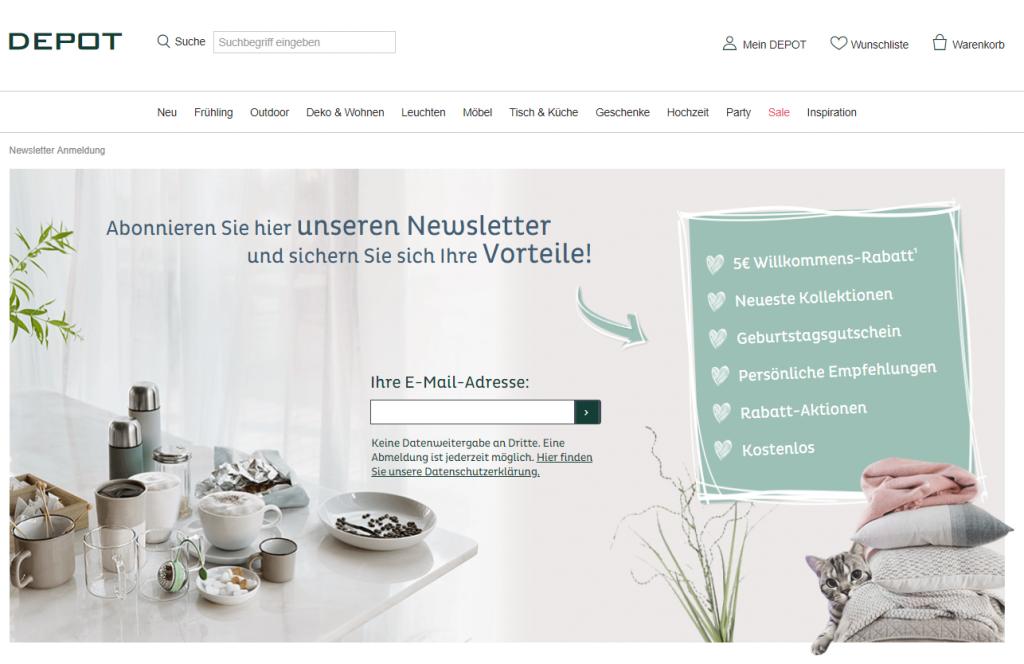 cleverreach_integration_shopify_app_sign-up_page_beispiel_depot_dekomarkt