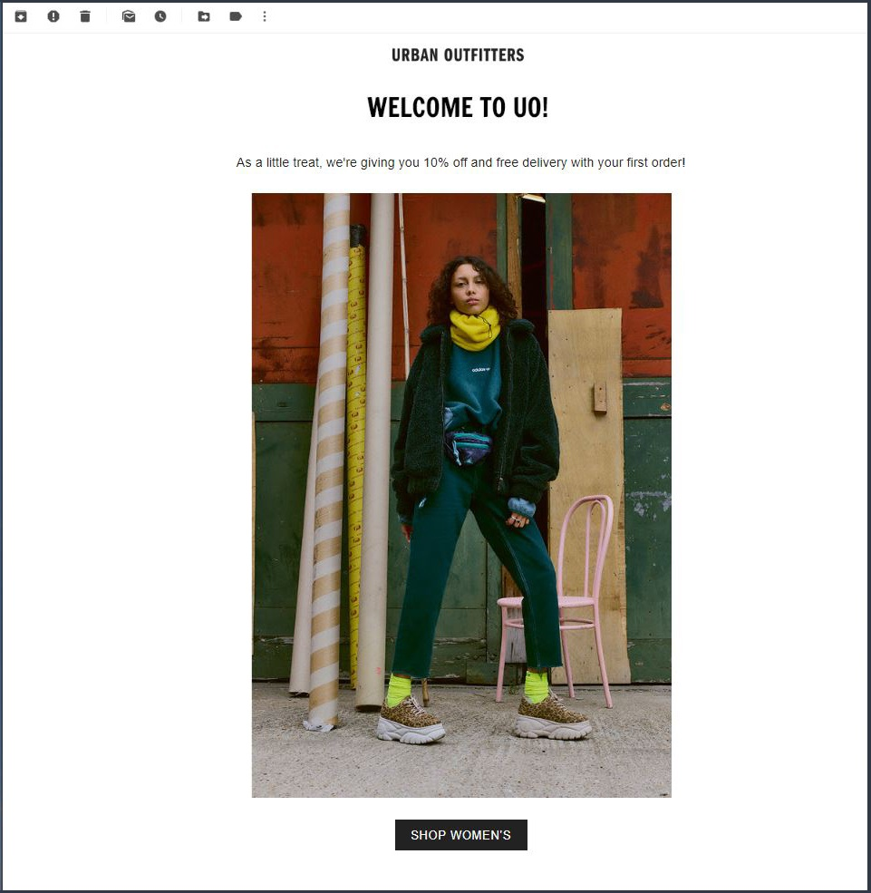 cleverreach_shopify_australia_automated_emails_welcome_email_example_urban_outfitters1
