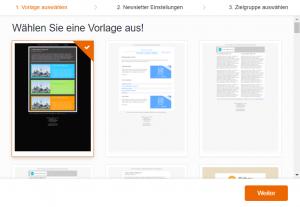 Vorlage auswählen WordPress Newsletter erstellen - CleverReach®