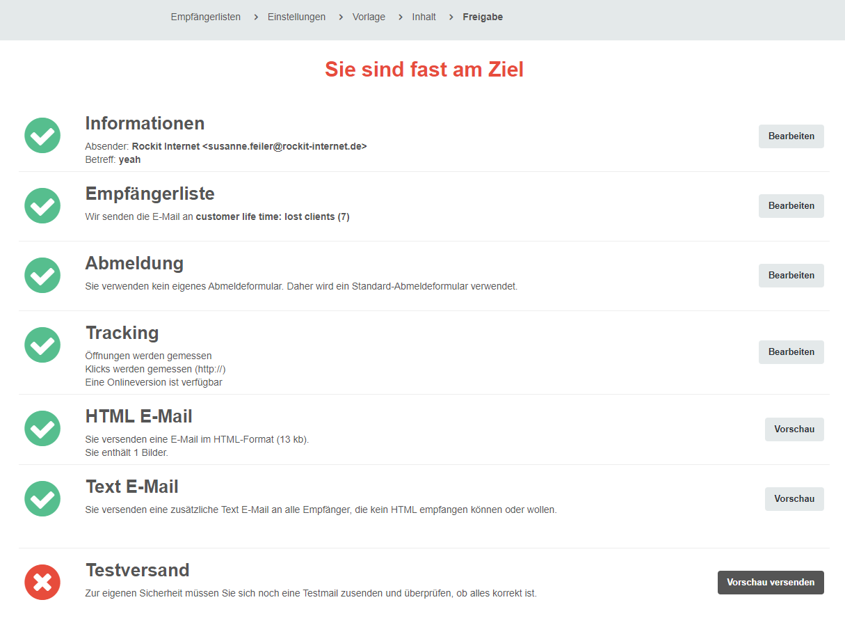 screenshot: CleverReach® Newsletter erstellen - Freigaben Newsletter 2