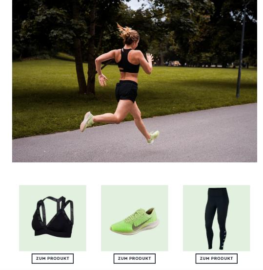 E-Mail Newsletter Adressgewinnung - Corporate Blog Sportscheck mit Produkt Links - CleverReach®