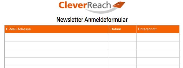E-Mail Newsletter Marketing: Abonnenten gewinnen offline mit Liste zum Einschreiben - CleverReach®
