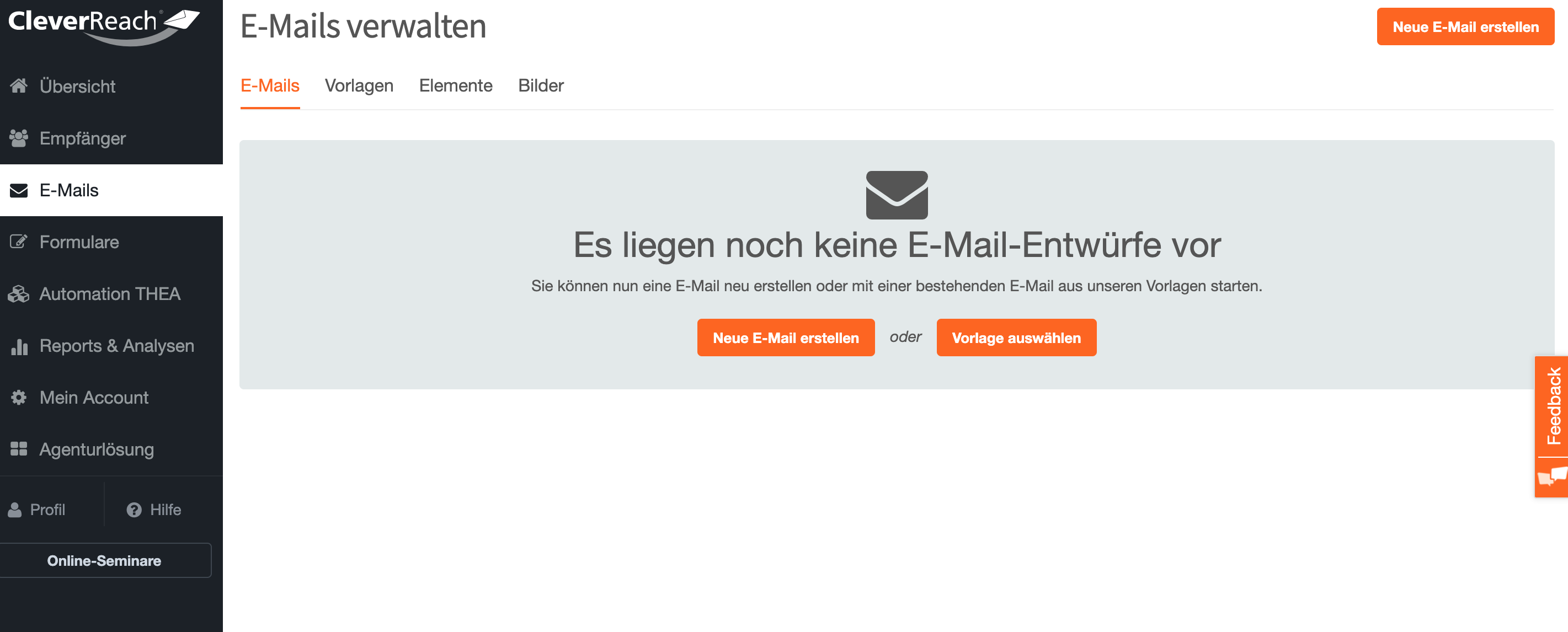 Template Converter - Übersicht E-Mails CleverReach