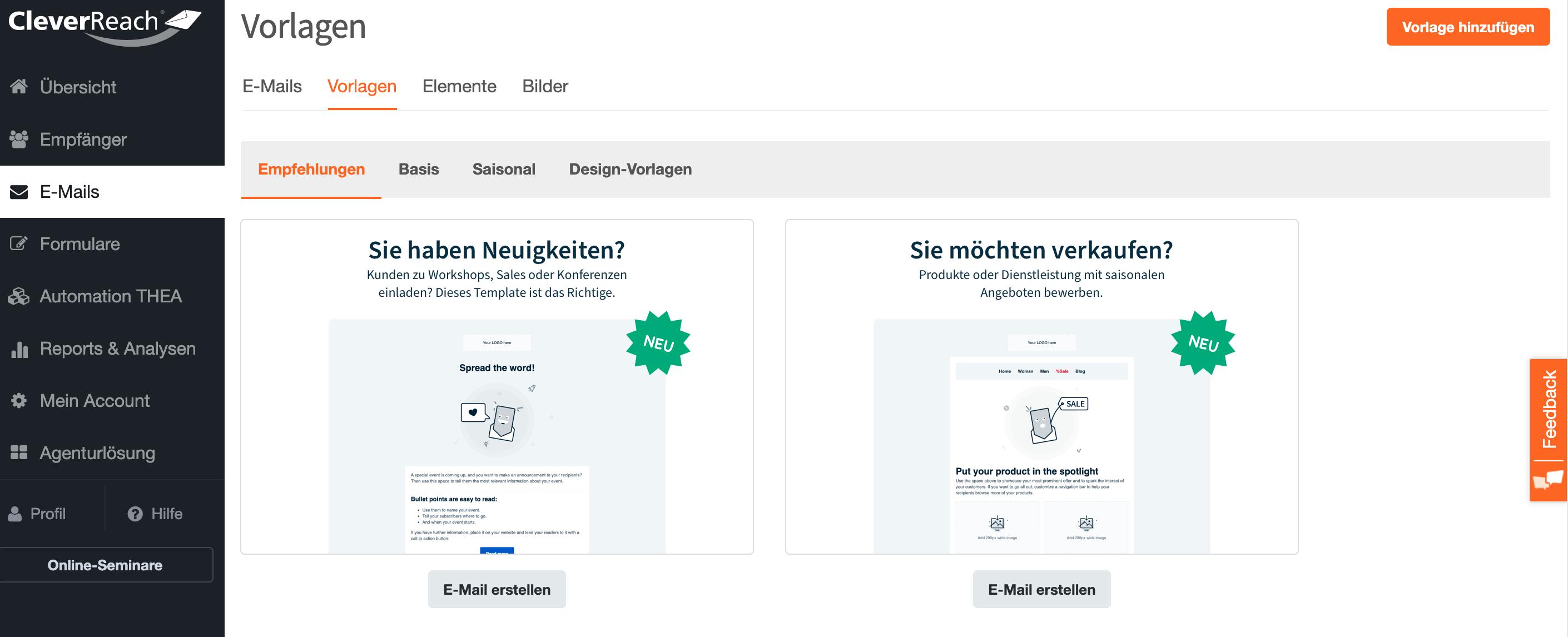 Template Converter - Übersicht Vorlagen - CleverReach