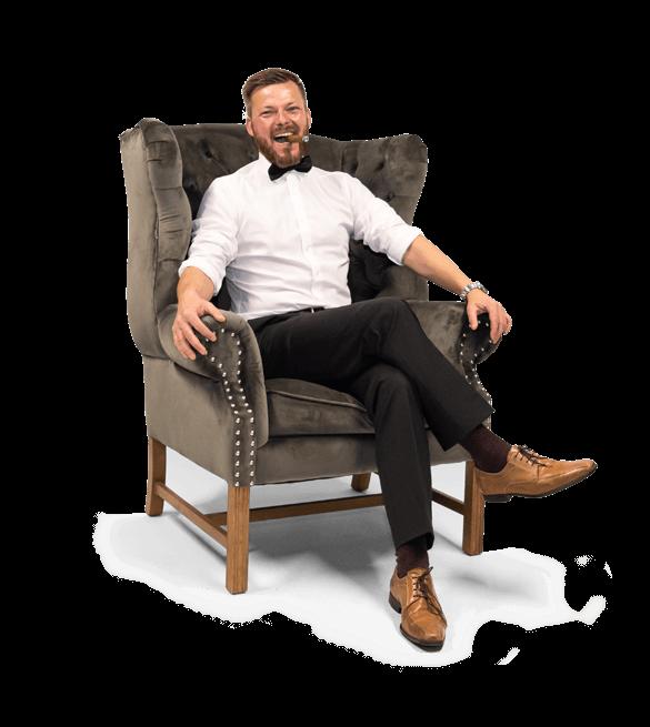 cleverfiliate testimonial sitting in arm-chair