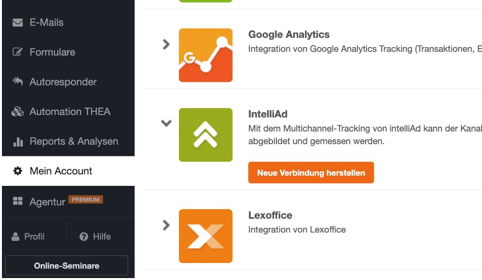Reporting und Tracking IntelliAd Tracking - CleverReach