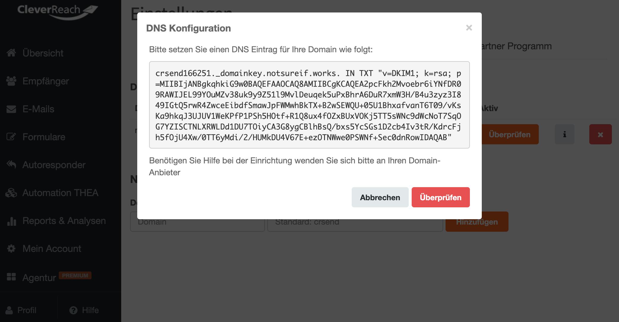 DKIM_DNS Eintrag_hinterlegen