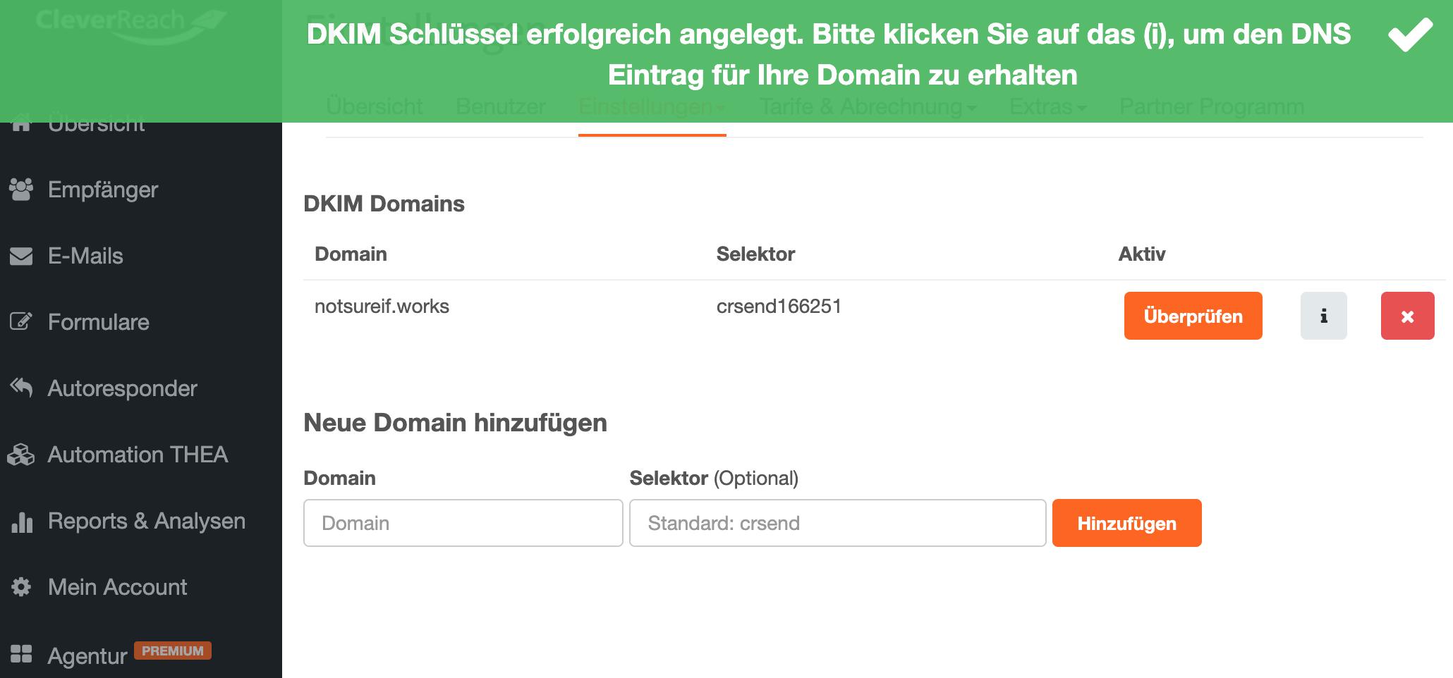 DKIM DNS Eintrag erhalten