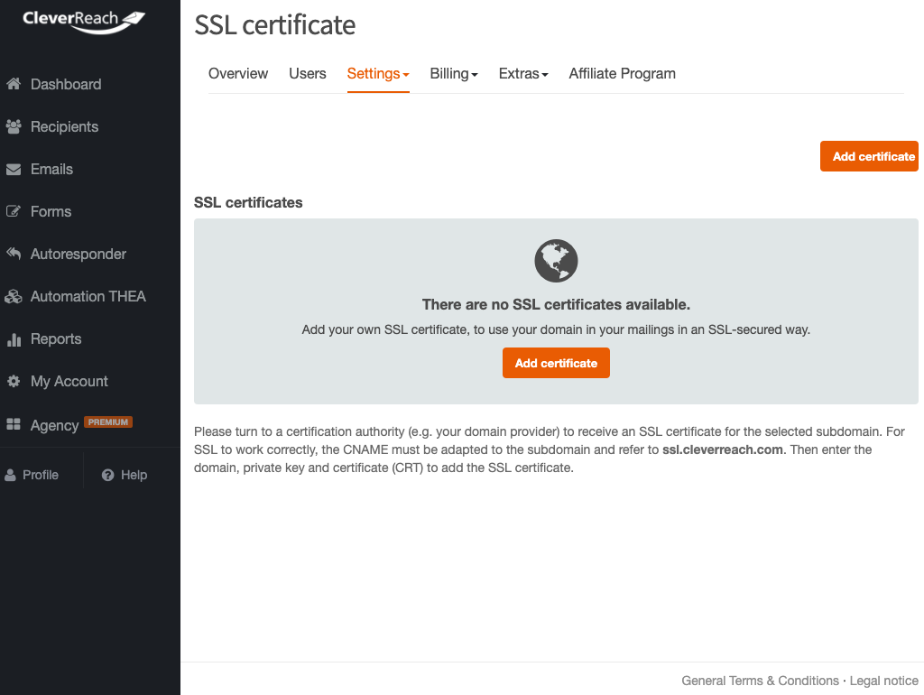 No SSL certificate available