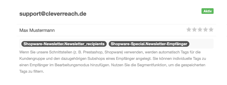 CleverReach_PUSH_Tags Empfänger