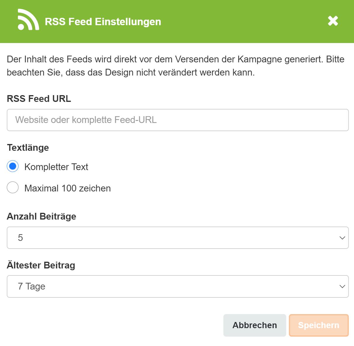 RSS Feed Einstellungen Screenshot