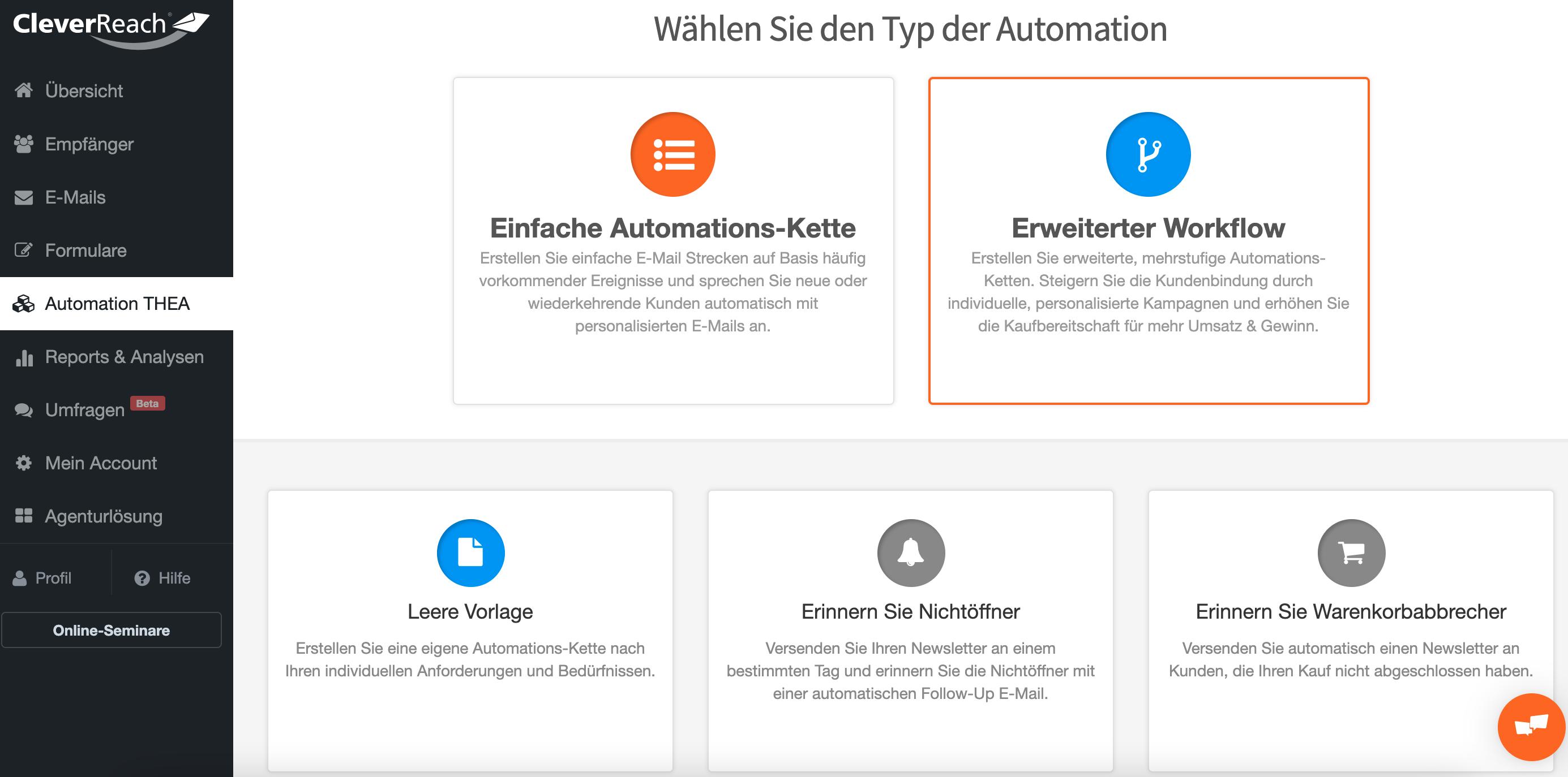 Übersicht der mehrstufigen Automationsketten in CleverReach®